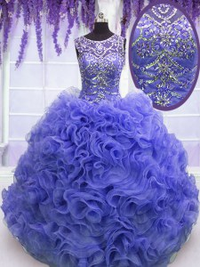 Purple Lace Up Scoop Beading and Ruffles Sweet 16 Dresses Organza Sleeveless