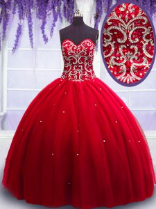 Gorgeous Floor Length Ball Gowns Sleeveless Red Ball Gown Prom Dress Lace Up