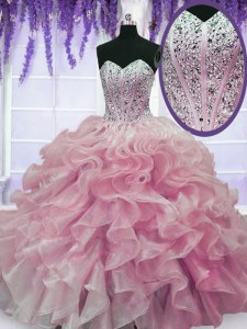 New Arrival Rose Pink Sweetheart Lace Up Beading and Ruffles Vestidos de Quinceanera Sleeveless