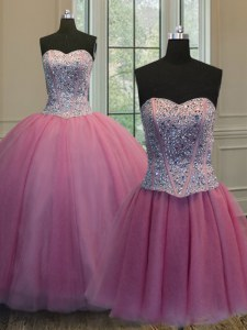 Fantastic Three Piece Rose Pink Ball Gowns Organza Sweetheart Sleeveless Beading Floor Length Lace Up Quince Ball Gowns