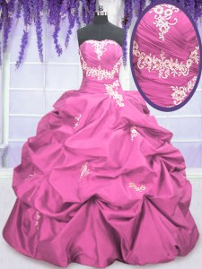 High Quality Pick Ups Strapless Sleeveless Lace Up Vestidos de Quinceanera Rose Pink Taffeta