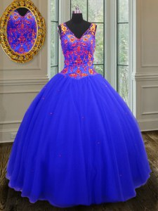 Designer Royal Blue V-neck Neckline Beading and Sequins Sweet 16 Dresses Sleeveless Zipper