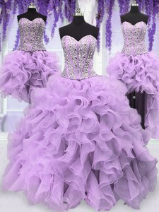 New Arrival Four Piece Floor Length Lace Up Quince Ball Gowns Lavender for Military Ball and Sweet 16 and Quinceanera with Ruffles and Sequins
