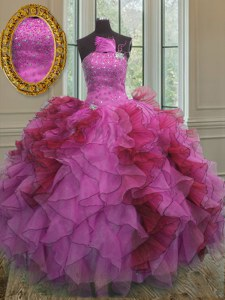 Multi-color Lace Up Sweet 16 Dress Ruffles and Sequins Sleeveless Floor Length