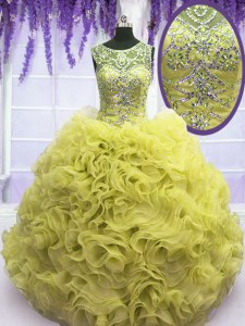 Yellow Scoop Neckline Beading and Ruffles Sweet 16 Dresses Sleeveless Lace Up