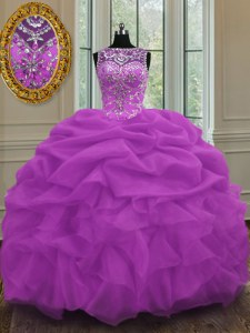 Dazzling Scoop Lilac Ball Gowns Beading and Pick Ups Quince Ball Gowns Lace Up Organza Sleeveless Floor Length