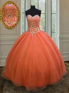 Extravagant Orange Red Organza Lace Up Quinceanera Dresses Sleeveless Floor Length Sequins