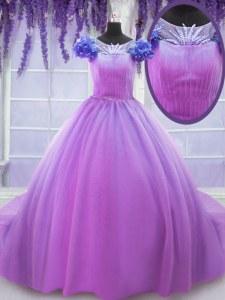 Cheap Tulle Scoop Short Sleeves Lace Up Hand Made Flower Sweet 16 Dresses in Lilac