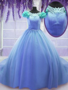 Luxury Scoop Short Sleeves Sweet 16 Quinceanera Dress Court Train Hand Made Flower Blue Tulle