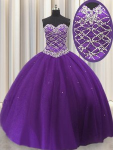 Floor Length Lace Up Sweet 16 Dress Eggplant Purple for Military Ball and Sweet 16 and Quinceanera with Beading and Sequins
