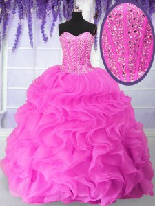 Smart Fuchsia Organza Lace Up Quinceanera Dresses Sleeveless Floor Length Beading and Ruffles