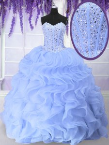 Latest Floor Length Light Blue Quinceanera Dress Organza Sleeveless Beading and Ruffles