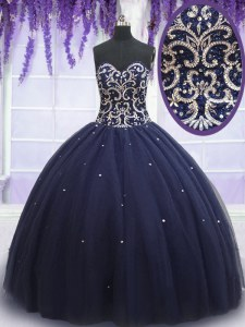Cheap Sweetheart Sleeveless 15th Birthday Dress Floor Length Beading Navy Blue Tulle