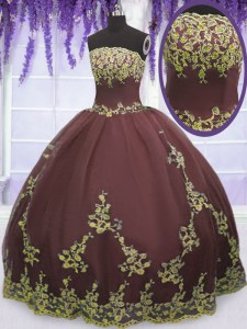 Floor Length Zipper Quinceanera Gowns Chocolate for Military Ball and Sweet 16 and Quinceanera with Lace and Appliques