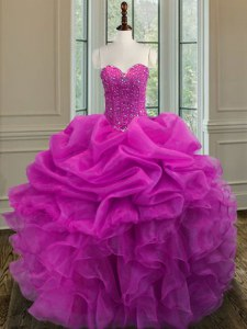 Fuchsia Ball Gowns Organza Sweetheart Sleeveless Beading and Ruffles Floor Length Lace Up 15 Quinceanera Dress
