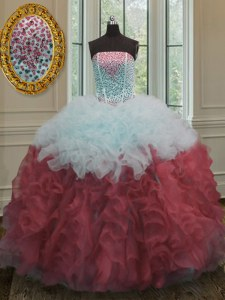 Ball Gowns 15th Birthday Dress White And Red Strapless Organza Sleeveless Floor Length Lace Up
