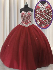 Customized Red Sleeveless Floor Length Beading and Sequins Lace Up Quinceanera Dress