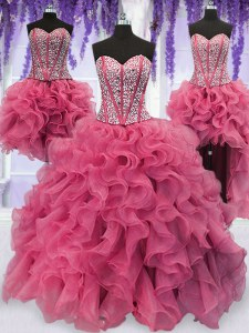Chic Four Piece Pink Sweetheart Neckline Ruffled Layers and Sequins Quinceanera Gowns Sleeveless Lace Up