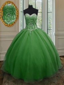 Wonderful Dark Green Sweetheart Lace Up Beading and Ruching Vestidos de Quinceanera Sleeveless