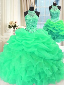 Modest Three Piece Sleeveless Beading and Pick Ups Lace Up Vestidos de Quinceanera