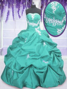 Aqua Blue Strapless Neckline Appliques and Ruching and Pick Ups 15th Birthday Dress Sleeveless Lace Up