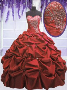 Coral Red Sweetheart Lace Up Beading and Pick Ups Sweet 16 Quinceanera Dress Sleeveless