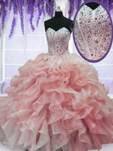Elegant Watermelon Red Sleeveless Beading and Ruffles Floor Length 15th Birthday Dress