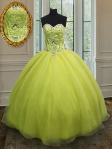 Yellow Green Column/Sheath Sweetheart Sleeveless Organza Floor Length Lace Up Beading and Belt 15th Birthday Dress