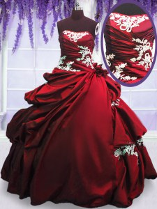 Wine Red Strapless Lace Up Appliques and Pick Ups Quinceanera Dresses Sleeveless