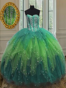 Classical Multi-color Ball Gowns Beading and Ruffles and Sequins Quinceanera Gowns Lace Up Tulle Sleeveless Floor Length