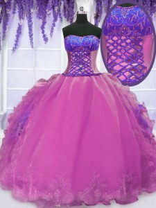 New Style Ball Gowns Quinceanera Dresses Lilac Strapless Organza Sleeveless Floor Length Lace Up