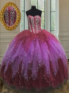 Fantastic Sweetheart Sleeveless Quinceanera Dresses Floor Length Beading and Ruffles and Sequins Multi-color Tulle