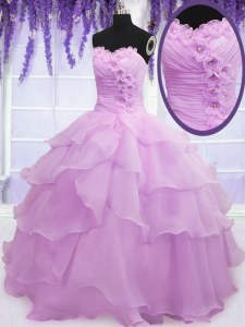 Lilac Sleeveless Floor Length Beading and Ruffled Layers and Hand Made Flower Lace Up Vestidos de Quinceanera