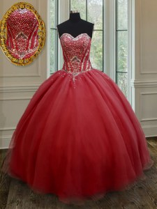 Red Quinceanera Dresses Military Ball and Sweet 16 and Quinceanera and For with Beading Sweetheart Sleeveless Lace Up