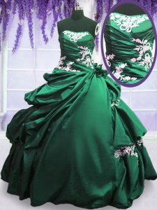 Sleeveless Taffeta Floor Length Lace Up Sweet 16 Dress in Green and Dark Green with Appliques and Pick Ups