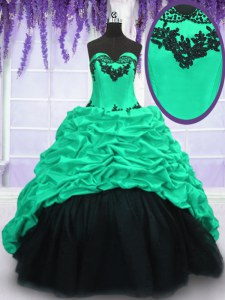 Fantastic Turquoise Lace Up 15th Birthday Dress Appliques and Ruffles and Pick Ups Sleeveless With Train Sweep Train