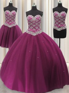 Three Piece Sleeveless Lace Up Floor Length Beading and Sequins Ball Gown Prom Dress