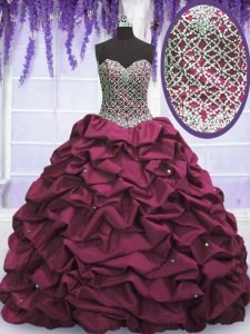 Discount Sequins Pick Ups Ball Gowns Quinceanera Dress Burgundy Sweetheart Taffeta Sleeveless Floor Length Lace Up