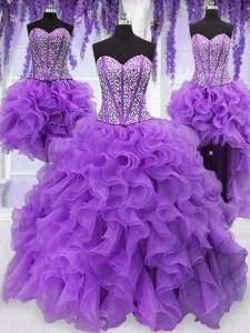 Four Piece Organza Sleeveless Floor Length Quinceanera Dress and Ruffles and Sequins