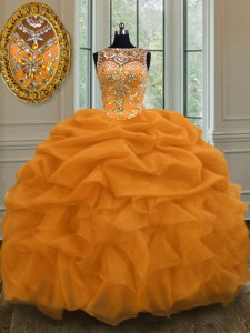 Affordable Scoop Floor Length Gold Quinceanera Dress Organza Sleeveless Beading and Pick Ups