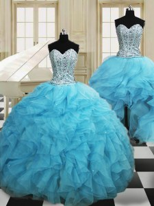 Three Piece Baby Blue Sweetheart Lace Up Beading and Ruffles Ball Gown Prom Dress Sleeveless