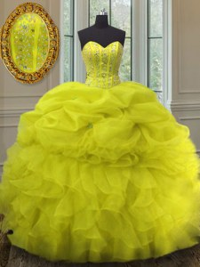 Beading and Ruffles and Pick Ups 15 Quinceanera Dress Yellow Lace Up Sleeveless Floor Length