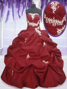 Pick Ups Ball Gowns Quinceanera Dress Wine Red Strapless Taffeta Sleeveless Floor Length Lace Up