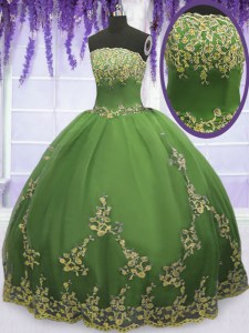 Custom Designed Ball Gowns Quince Ball Gowns Olive Green Strapless Tulle Sleeveless Floor Length Zipper