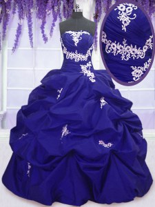 Customized Strapless Sleeveless Quinceanera Dress Floor Length Appliques and Pick Ups Royal Blue Taffeta