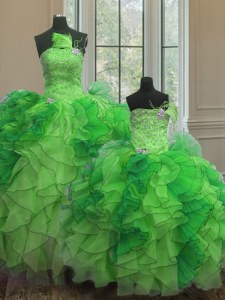 Strapless Sleeveless Lace Up 15th Birthday Dress Green Organza