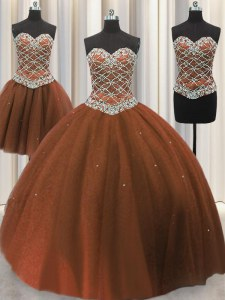 Three Piece Floor Length Brown 15 Quinceanera Dress Tulle Sleeveless Beading and Sequins
