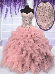 Pink Sleeveless Beading and Ruffles Floor Length Sweet 16 Dress
