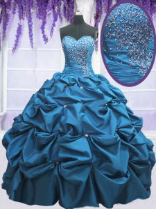 Deluxe Sweetheart Sleeveless Quinceanera Gowns Floor Length Beading and Appliques and Pick Ups Teal Taffeta