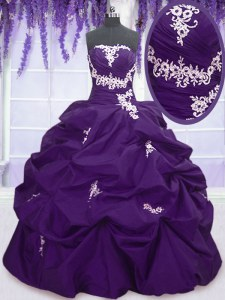 Beauteous Purple Sweet 16 Dresses Military Ball and Sweet 16 and Quinceanera and For with Appliques and Pick Ups Sweetheart Sleeveless Lace Up